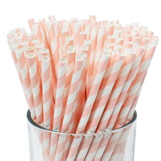 Striped Paper Straws (100pcs, Striped, Light Pink) - Premier