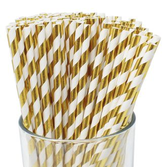 Striped Paper Straws (100pcs, Striped, Metallic Gold) - Premier