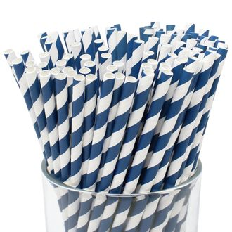 Striped Paper Straws (100pcs, Striped, Navy) - Premier