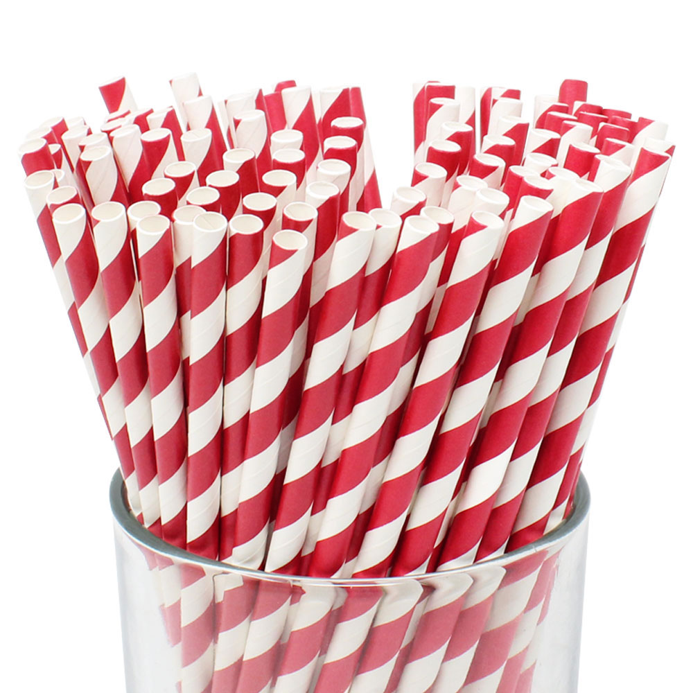 Striped Paper Straws (100pcs, Striped, Red) - Premier