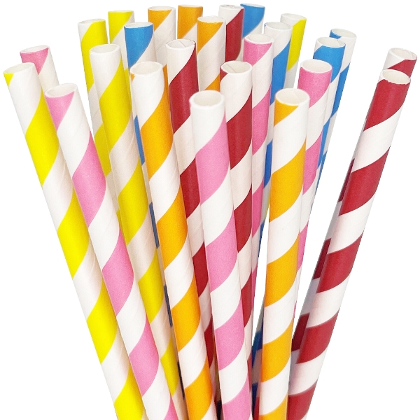 Striped Paper Straws 25pcs Assorted Colors