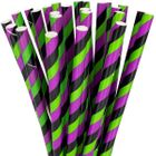 Striped Paper Straws 25pcs Black Green Apple Purple