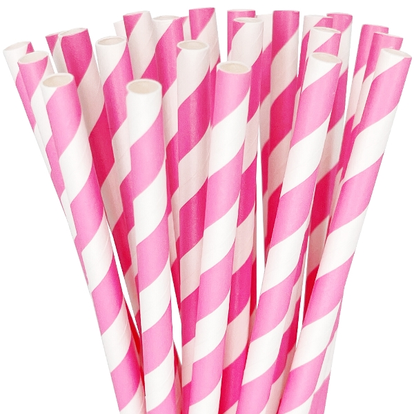 Striped Paper Straws 25pcs Bubblegum Pink