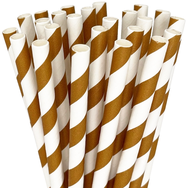 Striped Paper Straws 25pcs Chocolate