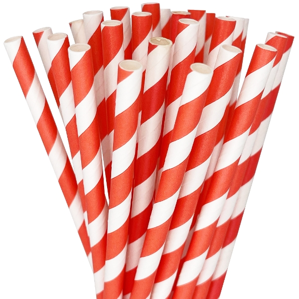 Striped Paper Straws 25pcs Coral Red