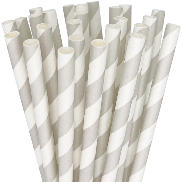 Striped Paper Straws 25pcs Grey