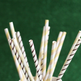 Striped Paper Straws 25pcs Ivory & Taupe