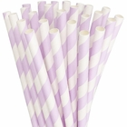 Striped Paper Straws 25pcs Lavender