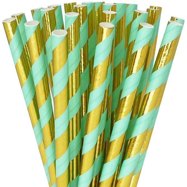 Striped Paper Straws 25pcs Metallic Gold and Seafoam