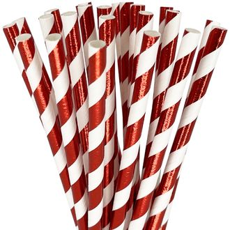 Striped Paper Straws 25pcs Metallic Red