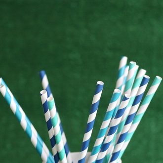 Striped Paper Straws 25pcs Navy