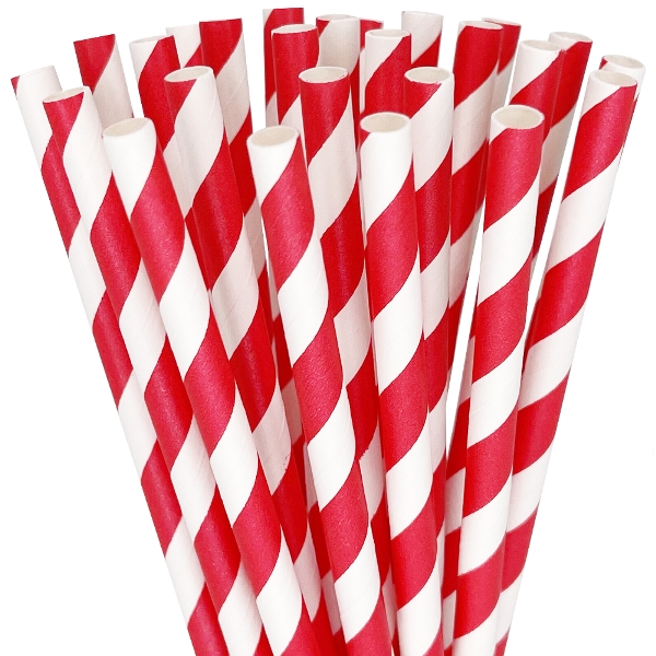 Striped Paper Straws 25pcs Red
