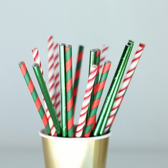 Striped Paper Straws 25pcs Red & Evergreen Holiday