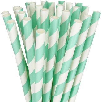 Striped Paper Straws 25pcs Seafoam