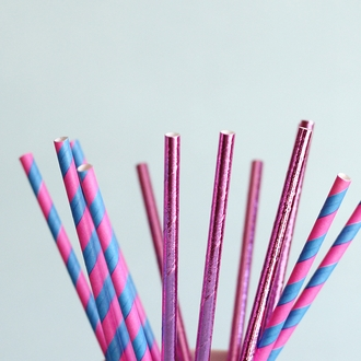 Striped Paper Straws 25pcs Shocking Pink & Blue