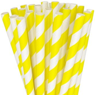 Striped Paper Straws 25pcs Yellow