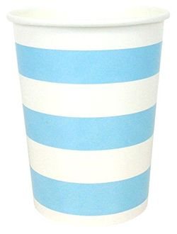 Striped Party Paper Cups (24pc, Baby Blue) - Premier