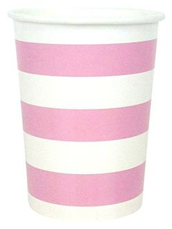 Striped Party Paper Cups (24pc, Baby Pink) - Premier
