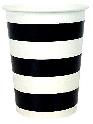 Striped Party Paper Cups (24pc, Black) - Premier