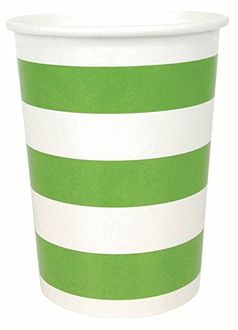 Striped Party Paper Cups (24pc, Green Apple) - Premier