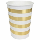 Striped Party Paper Cups (24pc, Metallic Gold) - Premier