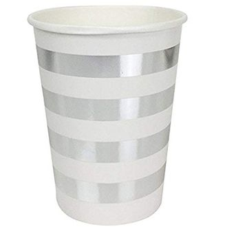 Striped Party Paper Cups (24pc, Metallic Silver) - Premier