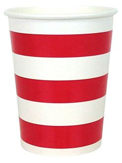 Striped Party Paper Cups (24pc, Red) - Premier