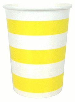 Striped Party Paper Cups (24pc, Yellow) - Premier