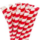 Striped Red Boba Milkshake Wide Paper Straws 25pcs