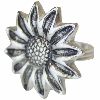 CLEARANCE Sunflower Napkin Ring Silver
