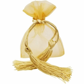Tassel Organza Favor Bag 10pcs Gold