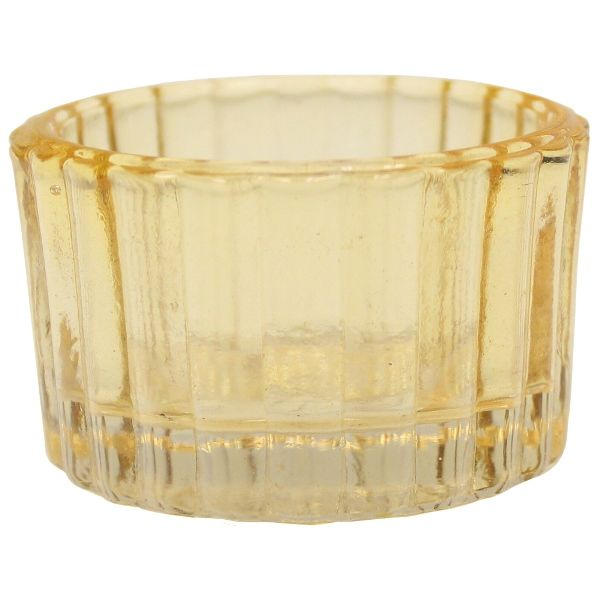 Tealight Candle Holder Amber Colored Glass Cleo 1in