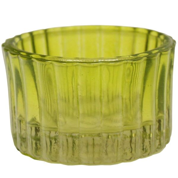 3ba0157dd4 Tealight Candle Holder Chartreuse Colored Glass Cleo 1in