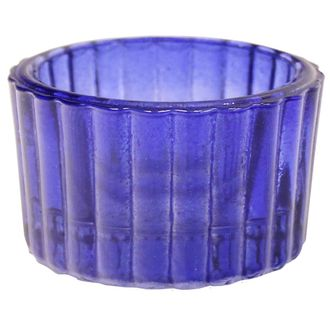 Tealight Candle Holder Cobalt Blue Colored Glass Cleo 1in