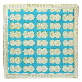 Throw Pillow Cover Blue with Gold Asha Hand Block 2pcs