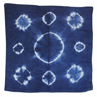 Throw Pillow Cover Indigo Blue Haloes Shibori
