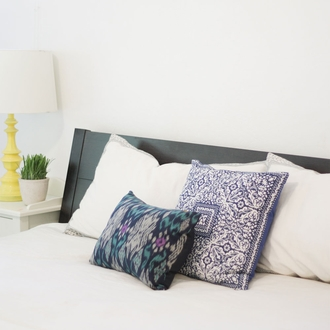 CLEARANCE Throw Pillow Cover Navy Blue Kamna Hand Block 2pcs