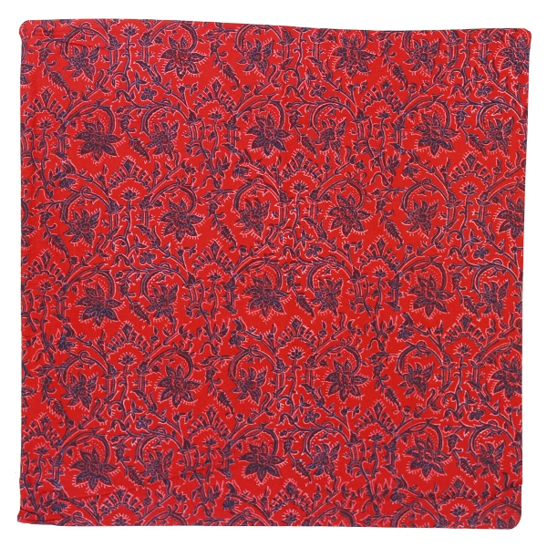 Throw Pillow Cover Red and Navy Blue Carmen Hand Block 2pcs