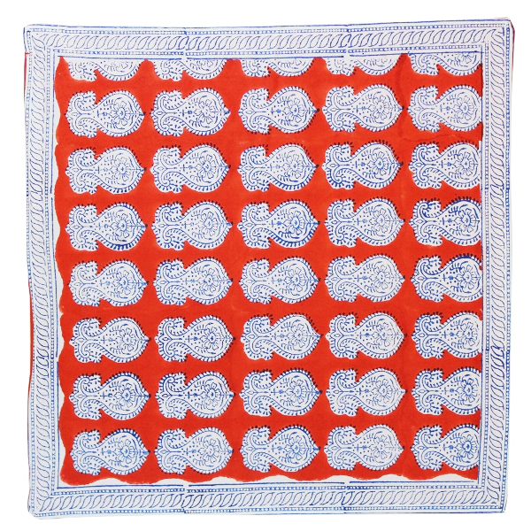 CLEARANCE Throw Pillow Cover Red with Blue Urmila Hand Block 2pcs