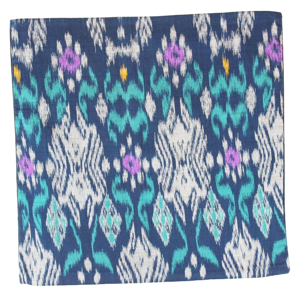 Throw Pillow Cover Square Navy Blue Ladee Ikat