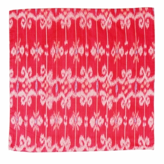 Throw Pillow Cover Square Scarlet Red Dira Ikat