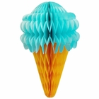 Tissue Honeycomb Blue Ice Cream Cone 7in