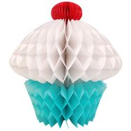 Tissue honeycomb Blue White Cupcake 8in