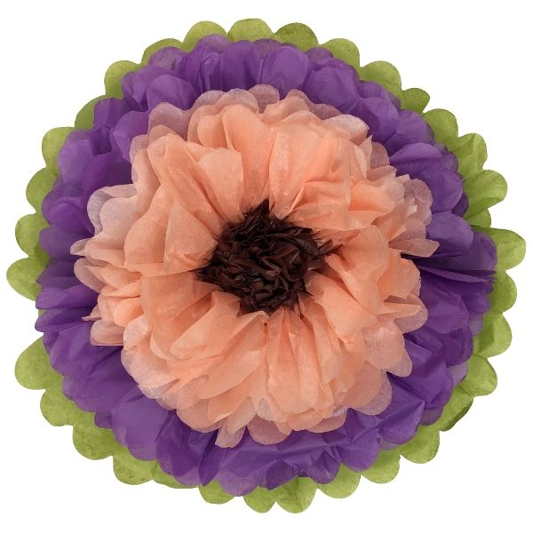 "Tissue Paper Flower 14"" Petunia Peach Chocolate"