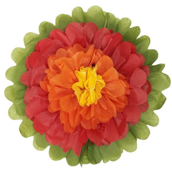 "Tissue Paper Flower 14"" Red Orange Yellow"