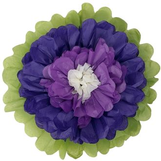 "Tissue Paper Flower 14"" Royal Purple Petunia Ivory"