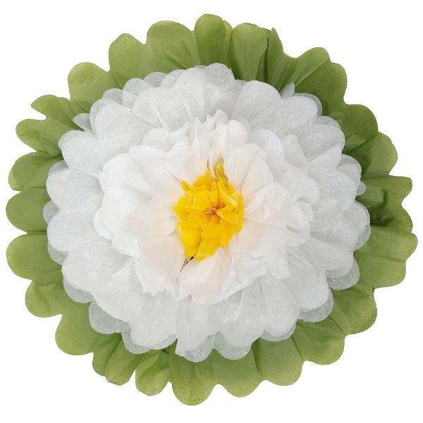 "Tissue Paper Flower 14"" White White Yellow"