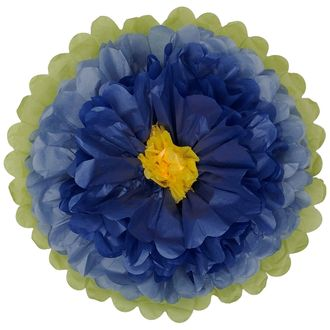 "Tissue Paper Flower 18"" Steel Blue Royal Blue Yellow"