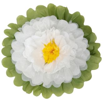 "Tissue Paper Flower 18"" White White Yellow"