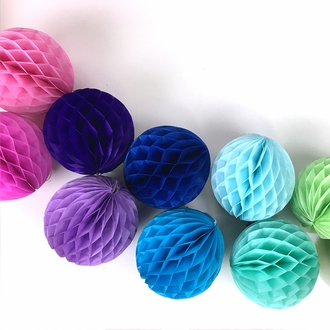 Tissue Paper Honeycomb Ball 8inch Azure Blue